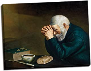 Grace by Eric Enstrom; Daily Bread Man Praying At Dinner; Religious Décor; One 20x16in Hand-Stretched Canvas