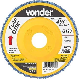 """Disco de desbaste/acabamento flap-disc reto 4.1/2"""" grão 120 costado plástico Vonder"""