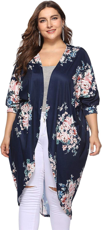 Gloria&Sarah Women'sPlus Size Floral Three Quarter Sleeve Lightweight Cardigan Drape Open Long Maxi Cardigan
