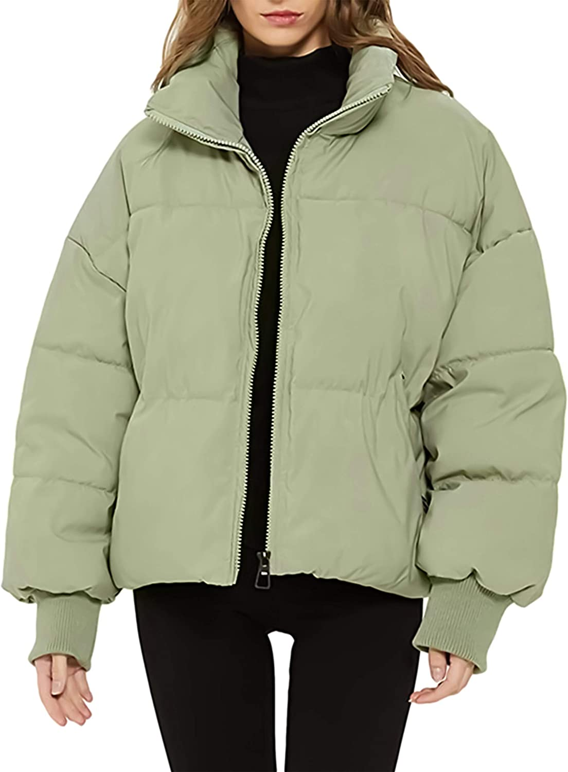 Tanming Womens Zip Up Drop Shoulder Quilted Padded Bubble Coat Puffer Jacket