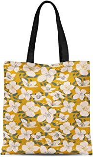 S4Sassy Pink Leaves & Cardamine Floral Print Canvas Shopping Tote Bag Carrying Handbag Casual Shoulder Bag 16x12 Inches