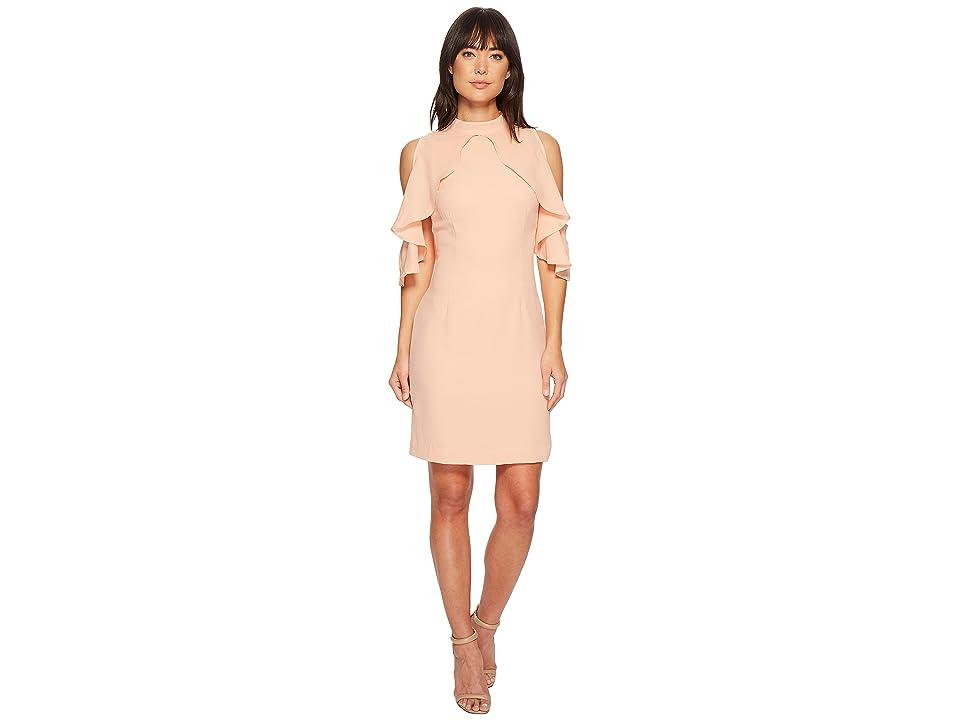 CATHERINE Catherine Malandrino Fern Ruffle Front Sheath Dress (Pink Sand) Women