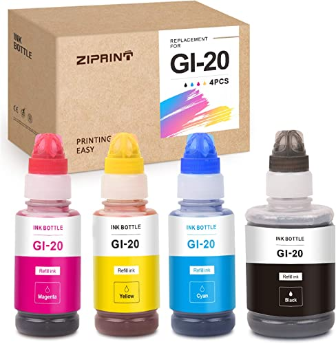 popular ZIPRINT Compatible Ink Bottle lowest Replacement for Canon new arrival GI-20 GI20 20 for PIXMA G5020 PIXMA G6020 (Black, Cyan, Magenta, Yellow, 4-Pack) sale
