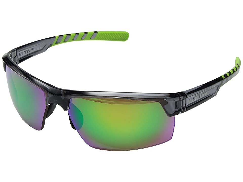 Native Eyewear Catamount (Dark Crystal Gray/Green Reflex Polarized Lens) Athletic Performance Sport Sunglasses