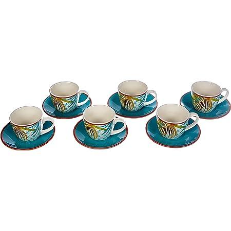 Tognana ME685015528 New Bone China Lot de 6 tasses à café avec soucoupes