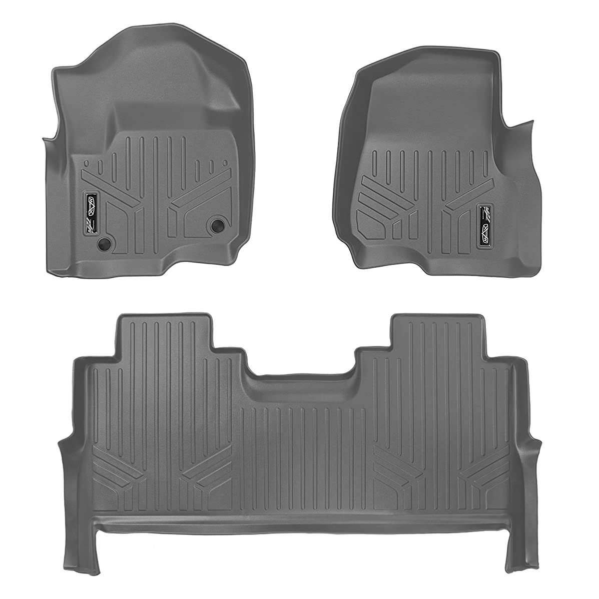 MAX LINER A2246/B2246 Gray Floor Mats 2 Liner Set Grey for 2017-2019 Ford F-250/F-350 Super Duty Crew Cab with 1st Row Bucket Seats