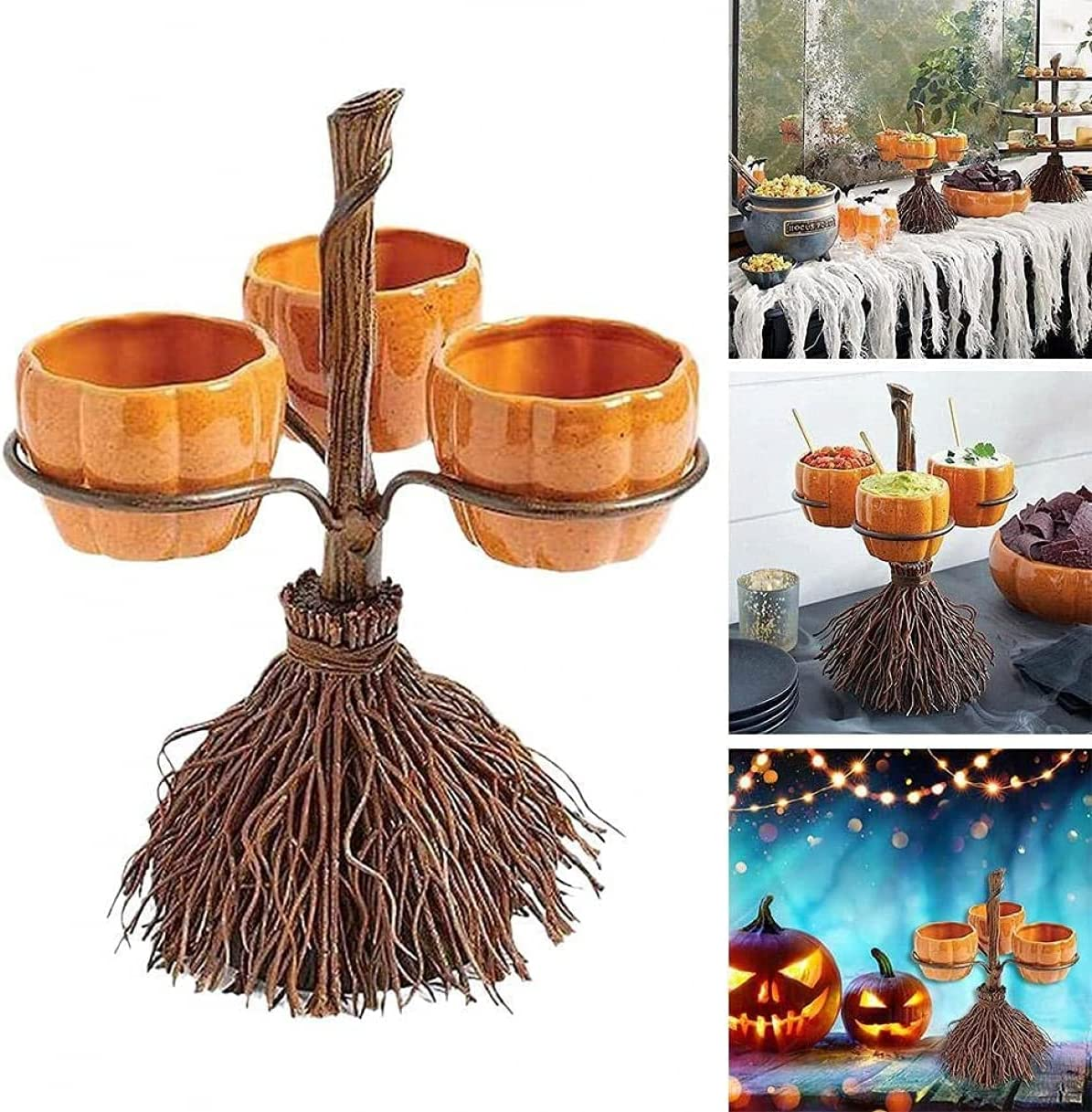 Store Lifekisser Halloween Witch Hat Snack Max 86% OFF Bowl Broomstick Shelf