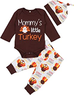 Baby Boy Girl Thanksgiving Outfit Newborn 1st Thanksgiving Onesie Turkey Pants with Hat Clothes Set