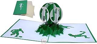 LIN 17549, Pop Up Karte Fußball, Pop Up Karte Geburtstag, Pop Up Geburtstagskarte, Stadion Gutschein, Grün Weiß, 3D Fußball Karte Grußkarte, N307