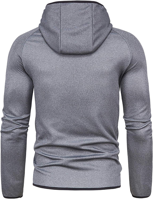 Rela Bota Mens Athletic Full Zip Hoodie - Fashion Sport Solid Hooded Jacket Sweatshirt
