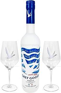 Grey Goose Vodka Wodka Set - Summer Riviera Bottle 2019 Summeredition limited edition 0,7l 700ml 40% Vol  2x Gläser Sommer Party Festival Bar Glas- Enthält Sulfite