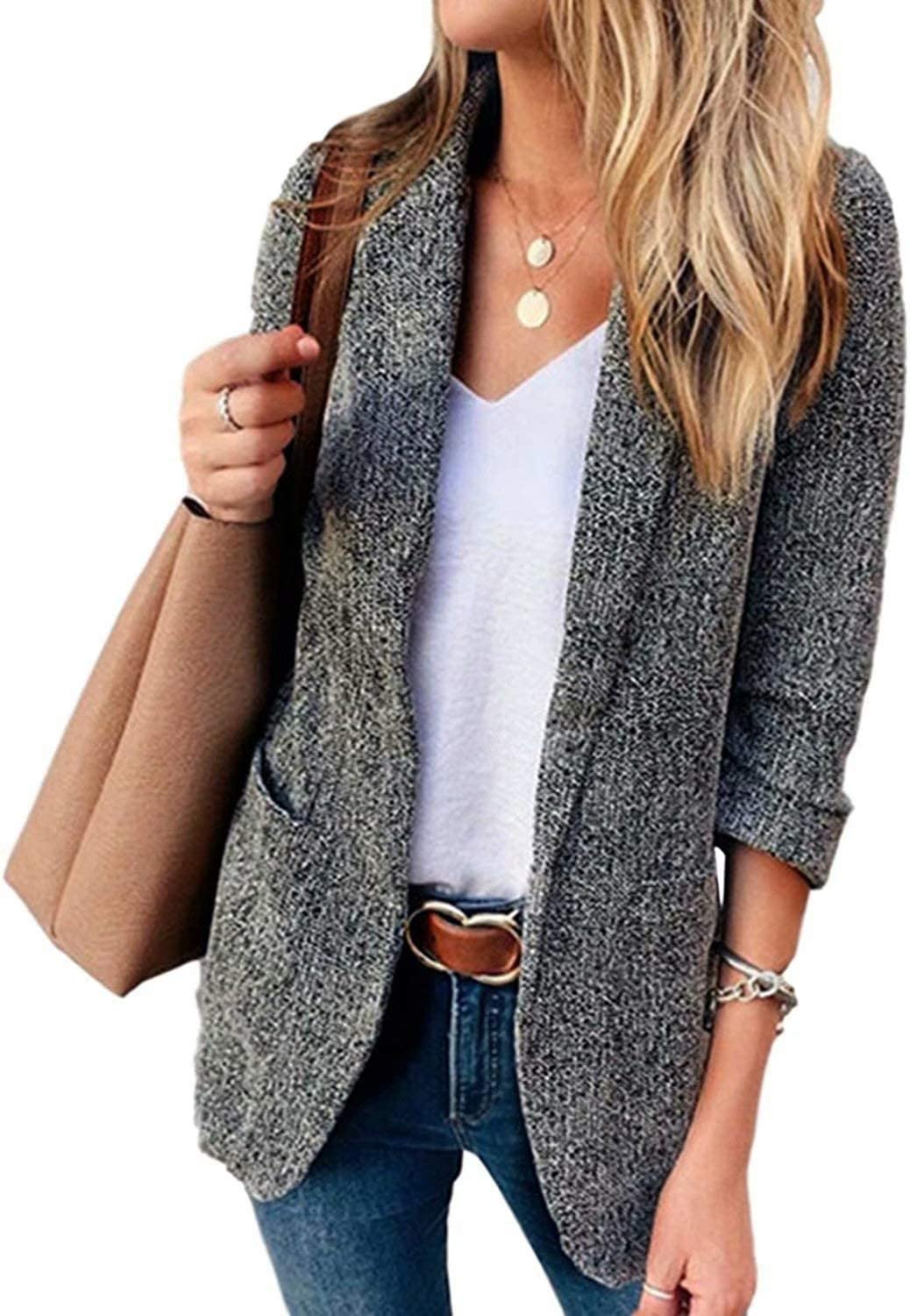 Womens Casual Blazers Super beauty product restock Ranking TOP11 quality top Open Front Long Office J Lapel Work Sleeve
