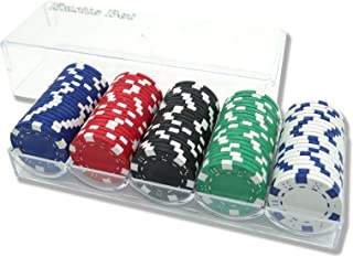 Excite Bet カジノチップ 本格的な重量感 ポーカーチップ ゲーム 盛り上がる 得点管理が容易 高級感 ルーレット/バカラ/ブラックジャック プロ仕様 5色(各色20枚, 計100枚セット) オリジナル専用ケース付き