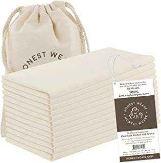 HONEST WEAVE GOTS Certified 100% Organic Flour Sack Cotton Kitchen Hand and Dish Towel Sets - Extra Large 27x27 inches, Fu...