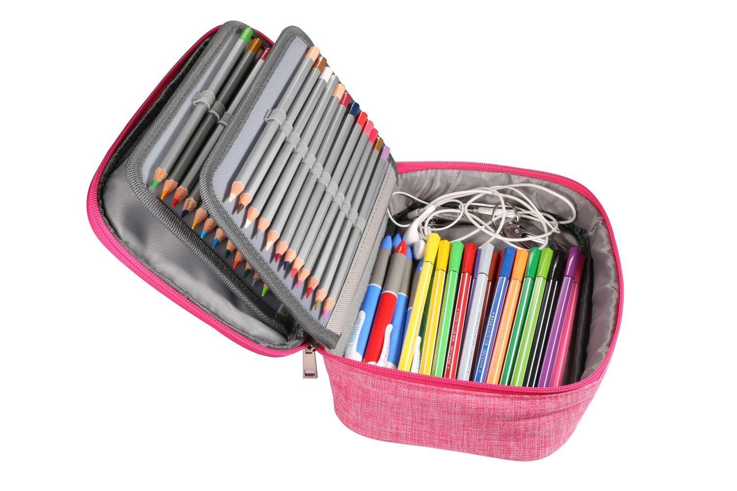 AMGOMH Estuches, 72 ranuras portalápices Caja de lápiz de Estudiantes Organizador Estuche Escolar de caso lapices de colores lápiz bolsa de arte dibujo Estuches Escolares Pencil Case (Rosa): Amazon.es: Oficina y papelería