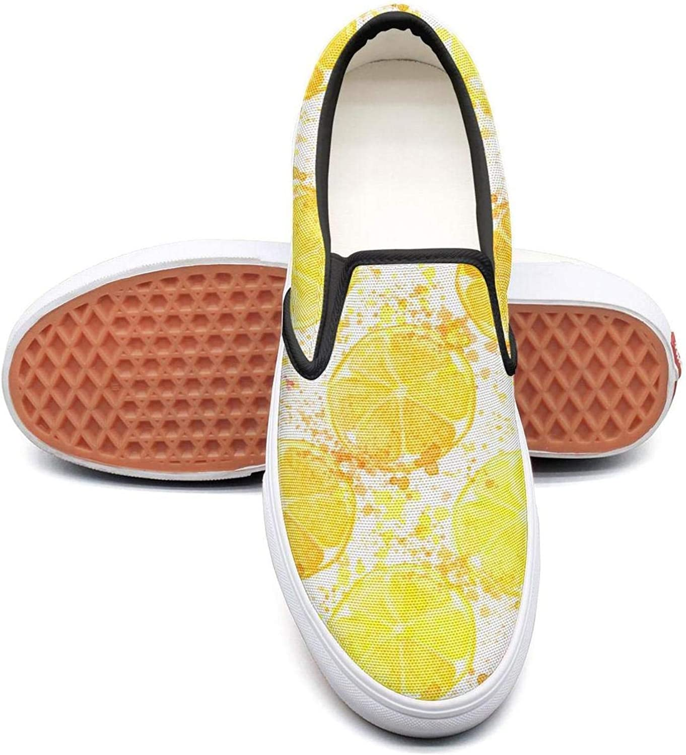 Sernfinjdr Women's Watercolor Lemon Hand Drawn Fashion Casual Canvas Slip on shoes Casual Cycling Sneakers shoes