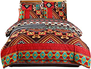 Boho Comforter Cover Full,Colorful Bohemian Theme Duvet Cover Chic Printed Soft Microfiber Southwest Style Bedding Set,Bohemia Striped Exotic Patterns Design Bedspread Cover with Zipper Closure