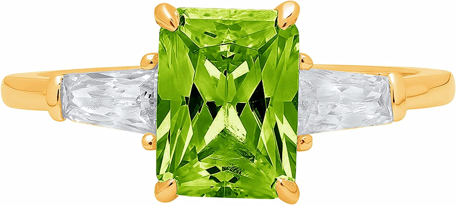2.0 ct Emerald Baguette cut 3 stone Solitaire Accent Genuine Flawless Natural Green Peridot Gemstone Engagement Promise Statement Anniversary Bridal Wedding Ring Solid 18K Yellow Gold