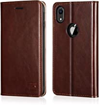 Belemay iPhone XR Wallet Case, iPhone XR Case, Slim Genuine Cowhide Leather Flip Case Folio Cover [Durable Soft TPU Inner Case] Card Holder Slots, Cash Pockets, Kickstand Compatible iPhone XR, Brown