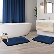 "Clara Clark Memory Foam Bathrug 2 Pack Set - Royal Blue - Bath Mat and Shower Rug Small 17"" x 24"" Inches, Non Slip Latex F..."