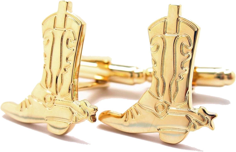Williams & Clark Men's Executive Gold Tone North American Cowboy Boot Rancher Cufflinks Cuff Links