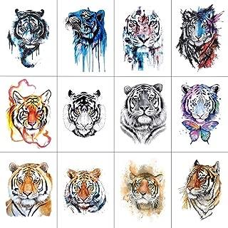 12 PCS/lot Tiger Temporary Tattoo Sticker for Women Men Fashion Body Art Adults Waterproof Hand Fake Tatoo 9.8X6cm