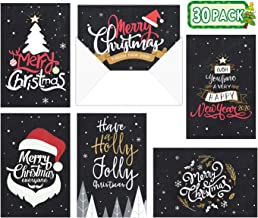 Celebrate the Season Chalkboard Christmas Card Assortment Pack - Set of 30 cards - 5 of each design, versed inside with envelopes