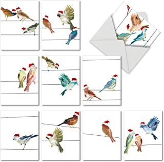 10 Watercolor 'Holiday High Wire Birds' Christmas Cards with Envelopes 4 x 5.12 inch, Holiday Greeting Cards with Birds Wearing Santa Hats, Assorted Seasonal Stationery M3318XSG