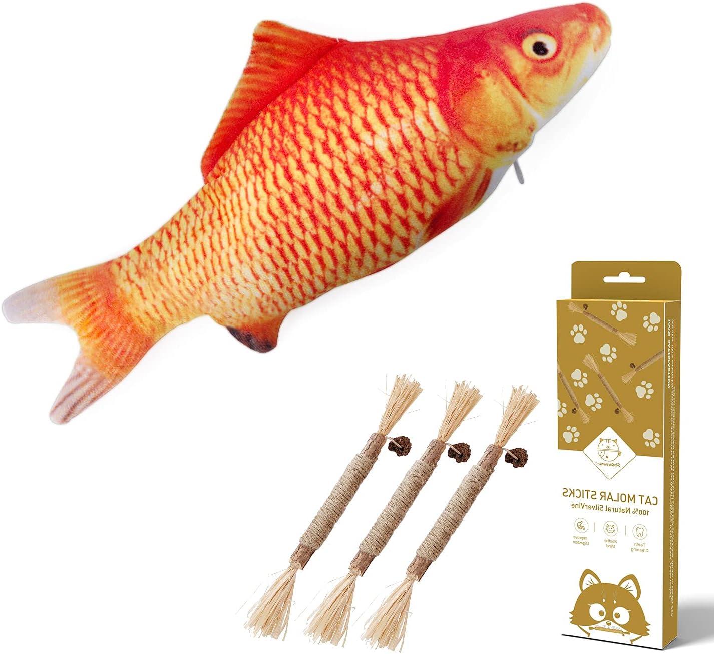 New Free Shipping Potaroma Sale Flopping Fish Cat Dog Molar Toy Sticks 3Pcs and