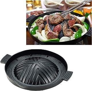 焼肉 ジンギスカン 鍋 28cm ふっ素加工でお手入れカンタン アルミ 鋳物製だから軽くて取り扱いやすい 約960g 中央で肉を焼くと周囲の野菜も美味しく焼ける 少量の油で調理できるのでヘルシー ガス火専用 ブラック