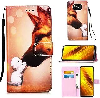 WVYMX Xiaomi Poco X3 NFC ケース, Xiaomi Poco X3 NFC カードホルダー付きケース, PUレザーリストストラップカードスロット保護フリップカバー for Xiaomi Poco X3 NFC Dog