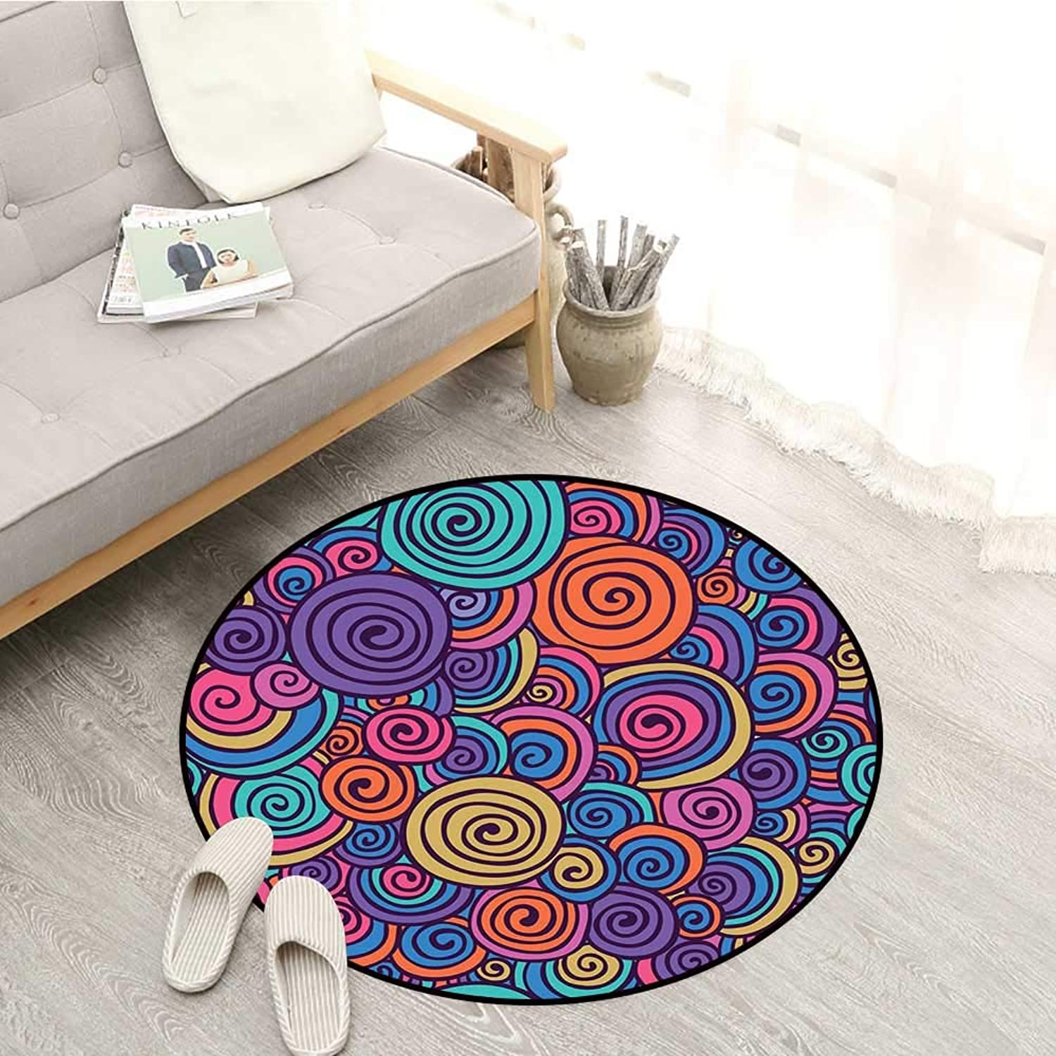 Abstract Carpets Hand Sketcked Circles in Retro Inspired Style Abstract Sixties Art Hippie Vibes Sofa Coffee Table Mat 4'11  Multicolor
