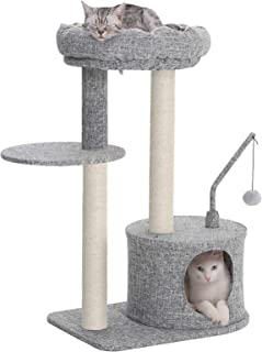 FEANDREA Cat Tree with Sisal-Covered Scratching Posts, Padded Condo and Top Perch, Activity Centre Playhouse Cat Tower Furniture, Linenette Surface, Light Grey UPCT62W