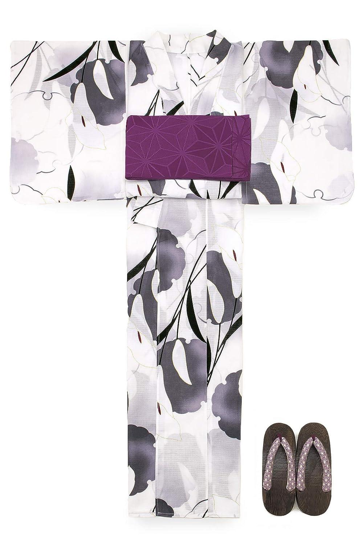 (ソウビエン) 浴衣 セット レディース 白 オフホワイト 灰色 雪輪 カラー ラメ 綿 半幅帯 マクレ ボヌールセゾン
