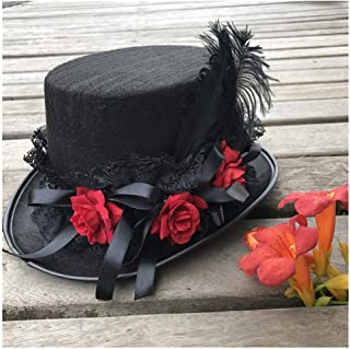 SHENTIANWEI Women New Retro Handmade Steampunk Top Hat with Flowers and Lace Ribbon Stage Magic Hat Party Hat Size 57CM