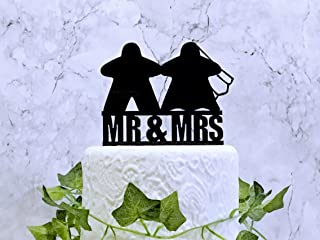 Meeple Wedding Cake Topper Meeple Bride and Groom Board Game Wedding Decorations Acrylic Cake Decor Mr and Mrs
