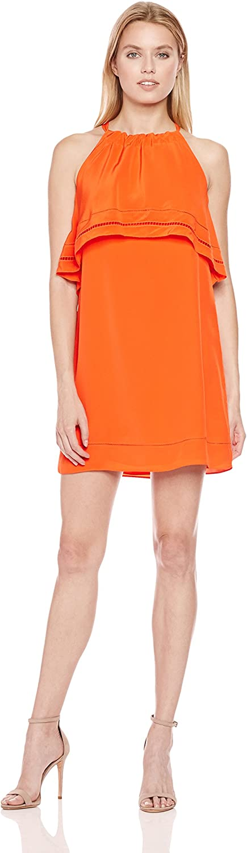 Trina Turk Womens Slim Solid Silk Tiered Dress Dress