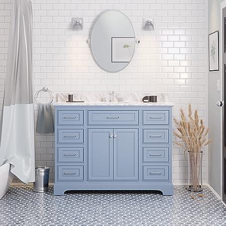 Aria 48-inch Bathroom Vanity (Carrara/Powder Blue): Includes Powder Blue Cabinet with Authentic Italian Carrara Marble Countertop and White Ceramic Sink