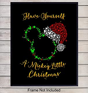 Mickey Mouse Santa Christmas Wall Art Print - Holiday Decorations for Office, Home or Room Decor - Great Xmas Gift for Walt Disney Fans - 8x10 Photo Poster