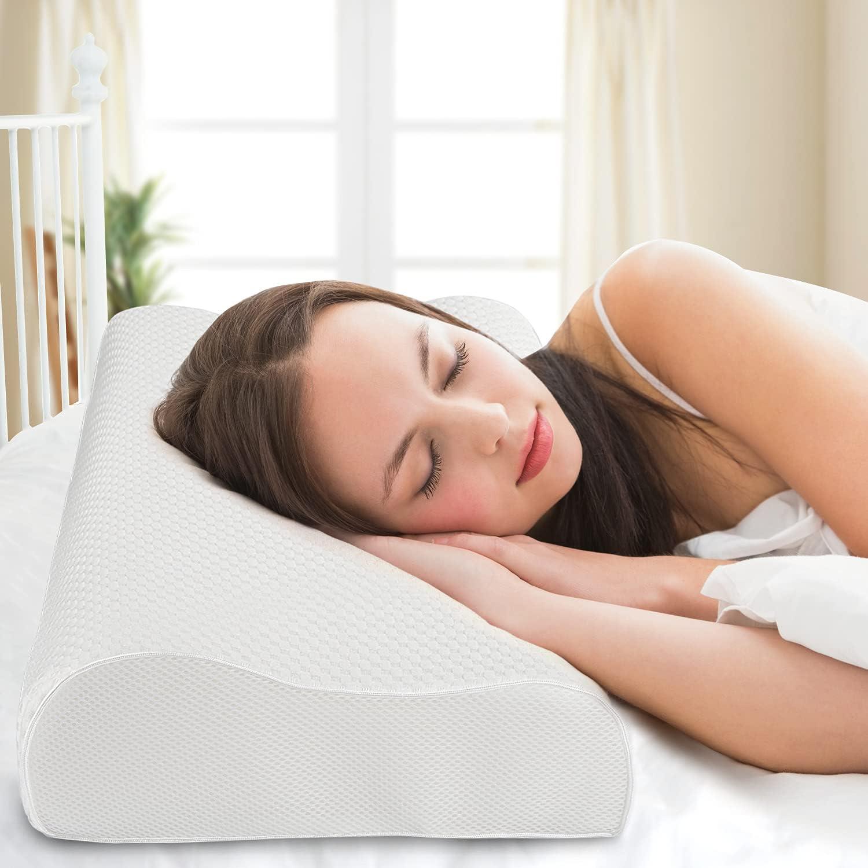 Almohada de Espuma con Memoria 60 x 35 cm, Almohada ortopédica de Apoyo al Cuello, Almohada de Espuma de Gel viscoelástica para Dormir, Almohada para Dormir de Lado, Almohada para el Dolor de Cuello