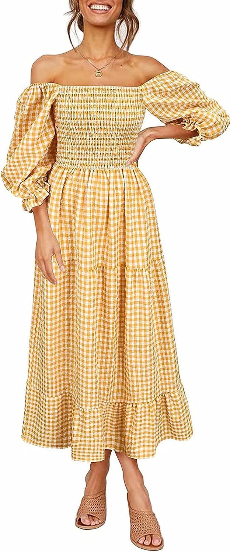 Ekaliy Boho Flowy Smocked Dress Women Puff Sleeves Off The Shoulder Autumn Casual Plaid Ruffled Midi Dress