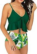 BAJIE Bikini suit Plus Size Sunflower High Waist Bikini Swimsuit Suit Women Push Up Ruffled Hem Bikini Swimwear Plus Size ...