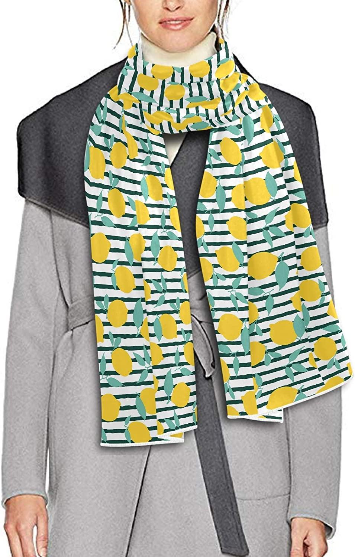 Scarf for Women and Men Yellow Lemon Fruit Stripe Blanket Shawl Scarf wraps Soft warm Winter Oversized Scarves Lightweight