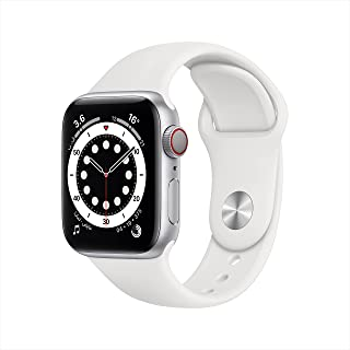 AppleWatch Series 6 (GPS + Cellular, 40mm) - Silver Aluminium Case with White Sport Band