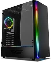 darkFlash J11 Black ATX Mid-Tower Desktop Computer Gaming Case USB 3.0 Ports Tempered Glass Windows with 1pcs 120mm LED MR12 RGB Fan Pre-Installed