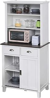 Armoire de cuisine multi-rangements 2 portes coulissantes 2 tiroirs 2 étagères + plateau blanc noir