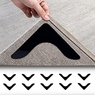 Rosmax Rug Gripper 10Pcs Double Sided Anti Curling Non Slip Reusable Rug Pad Rug Grippers for Area Rugs Keep Your Rug in P...