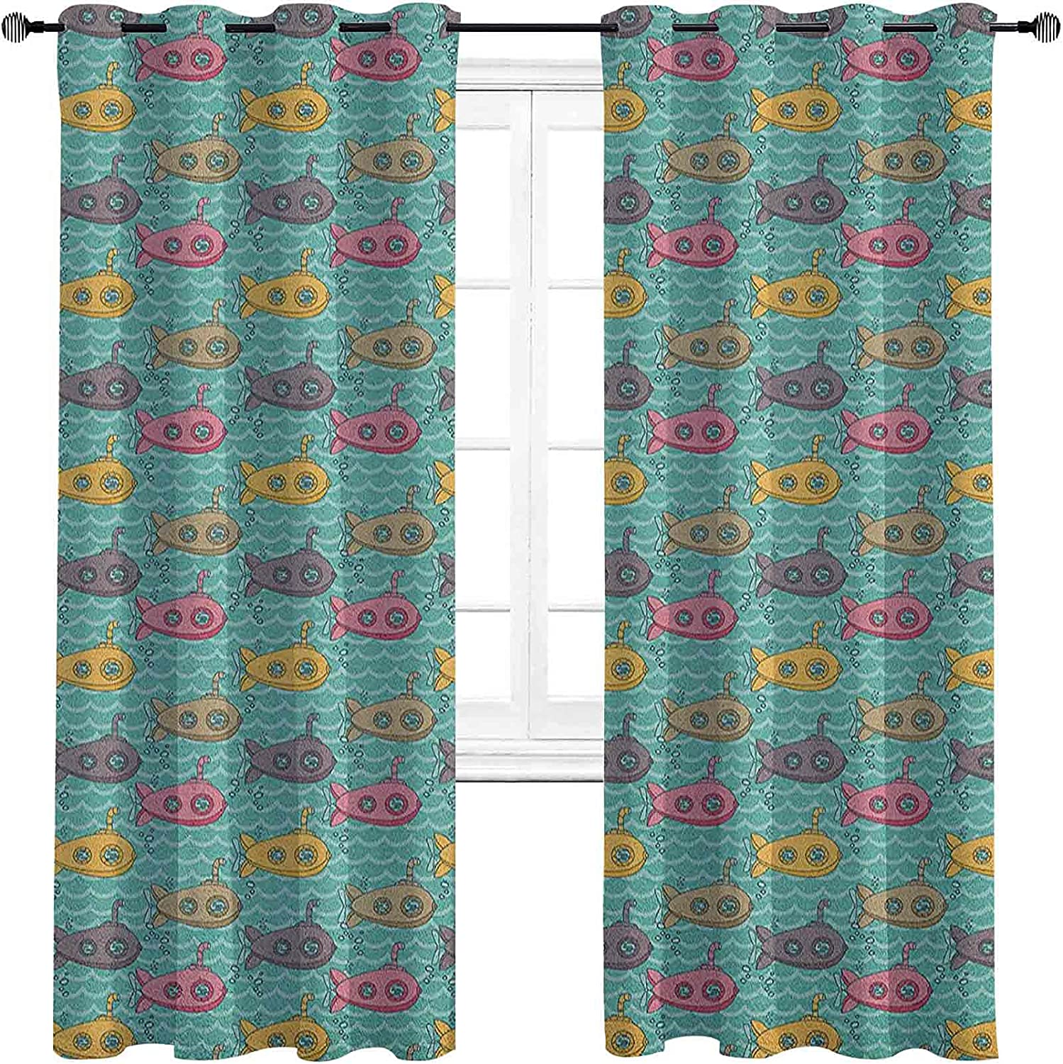 Submarine Blackout service Curtains with Grommets darken Ranking TOP14 Carto Colorful