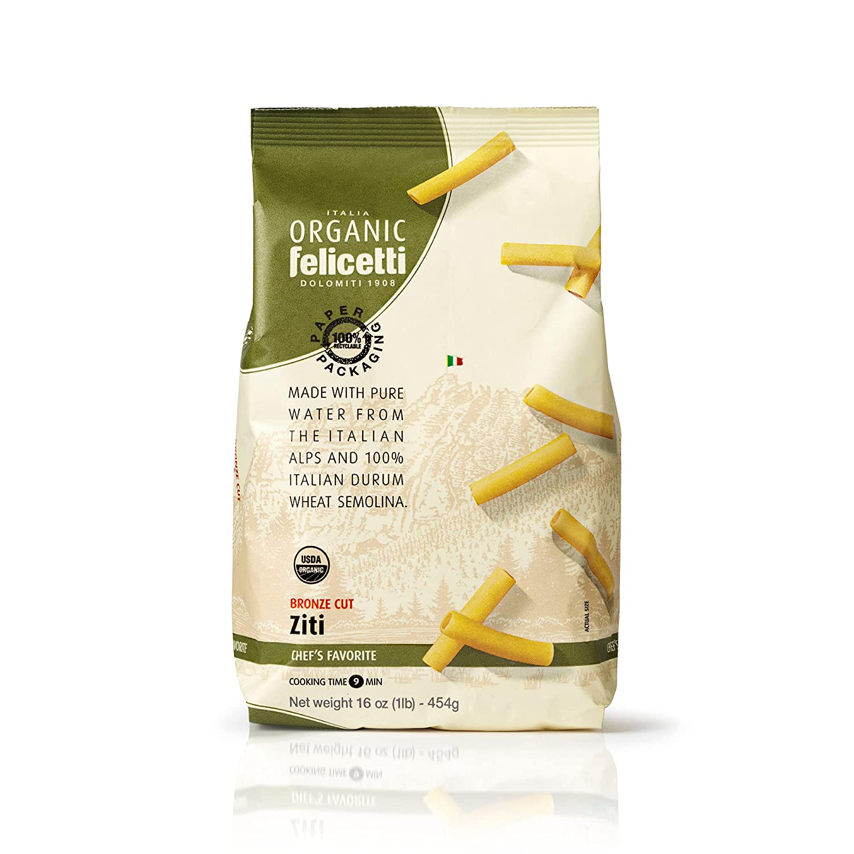 Organic Felicetti Ziti Pasta Italian Non-GMO 16oz (454g) 2 Pack