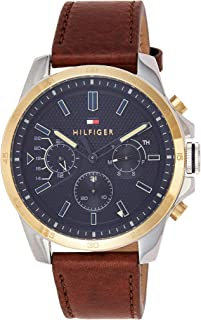 Tommy Hilfiger Mens Quartz Watch, Analog Display and Leather Strap 1791521